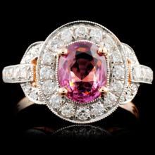 18K Gold 1.30ct Spinel & 0.63ct Diamond Ring