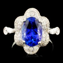 18K Gold 3.31ct Tanzanite & 0.61ctw Diamond Ring