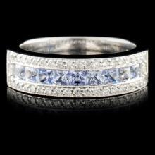 18K Gold 1.20ctw Tanzanite & 0.50ctw Diamond Ring