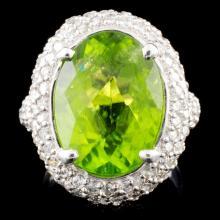 14K Gold 9.28ct Peridot & 2.40ctw Diamond Ring