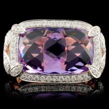 14K Rose Gold 6.73ct Amethyst & 0.50ct Diamond Rin