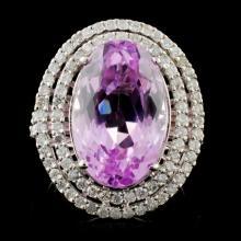 14K W Gold 9.84ct Kunzite & 0.96ct Diamond Ring