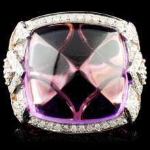 14K Gold 24.21ct Amethyst & 0.77ctw Diamond Ring