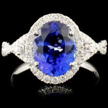 14K Gold 2.35ct Tanzanite & 0.45ctw Diamond Ring