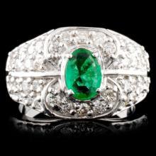 14K Gold 0.67ct Emerald & 0.92ctw Diamond Ring