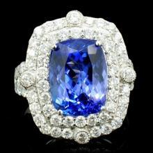 18K Gold 4.85ct Tanzanite & 1.55ct Diamond Ring