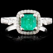 18K White Gold 0.69ct Emerald & 0.41ct Diamond Rin