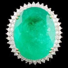 18K Gold 21.47ct Emerald & 1.10ctw Diamond Ring