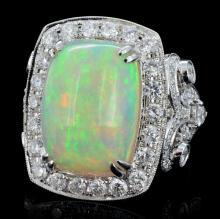 18K Gold 6.76ct Opal & 2.61ct Diamond Ring