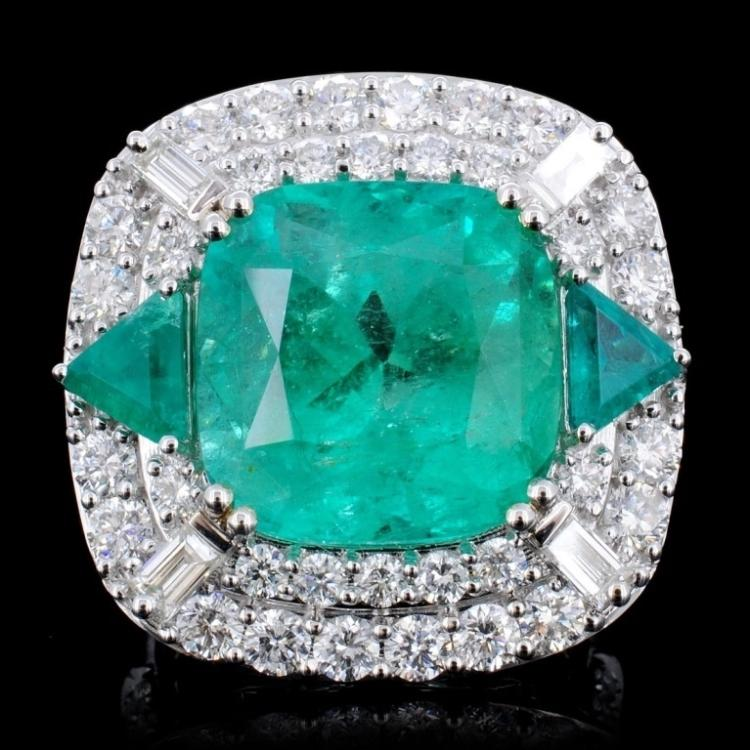 18K Gold 12.21ct Emerald & 2.58ct Diamond Ring