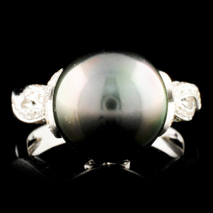 18K Gold 11.50MM Pearl & 0.49ctw Diamond Ring