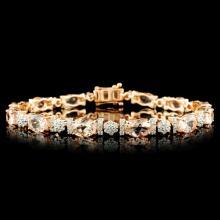 14K Gold 9.15ct Morganite & 1.50ctw Diamond Bracel