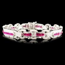 14K Gold 5.12ct Ruby & 1.30ctw Diamond Bracelet