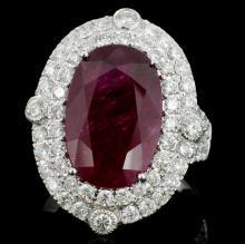 18K Gold 7.24ct Ruby & 1.52ct Diamond Ring