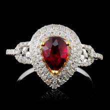18K White Gold 0.99ct Ruby & 0.45ct Diamond Ring