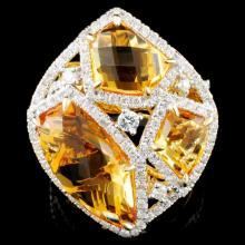 14K Gold 8.24ct Citrine & 0.99ctw Diamond Ring
