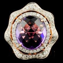 14K Gold 8.25ct Amethyst & 0.90ctw Diamond Ring