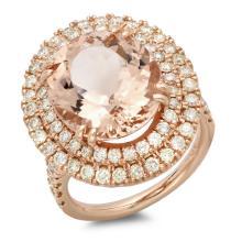 14K Gold 9.00ct Morganite & 1.50ct Diamond Ring