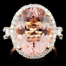 14K Gold 8.51ct Morganite & 1.00ctw Diamond Ring