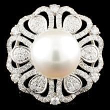 18K Gold 13MM Pearl & 1.61ctw Diamond Ring