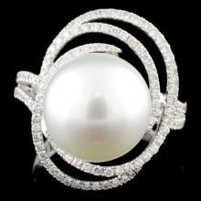18K Gold 12mm Pearl & 0.53ctw Diamond Ring