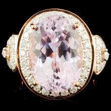 18K Gold 10.86ct Kunzite & 0.71ctw Diamond Ring