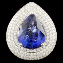 18K Gold 12.77ct Tanzanite & 3.79 Diamond Ring