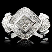 18K White Gold 0.97ctw Diamond Ring