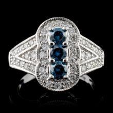 18K White Gold 0.83ctw Fancy Color Diamond Ring