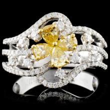 18K White Gold 0.98ctw Fancy Diamond Ring