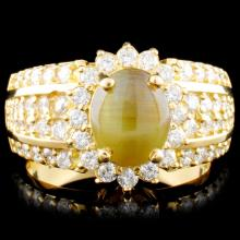 18K Gold Cats Eye & 1.20ctw Diamond Ring
