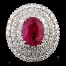 18K Rose Gold 2.23ct Ruby & 2.56ct Diamond Ring