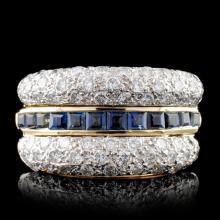 14K Yellow Gold 0.85ct Sapphire & 1.21ct Diamond R