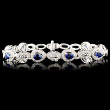 14K Gold 3.26ct Sapphire & 1.70ctw Diamond Bracele