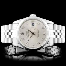 Rolex SS DateJust 36mm Silver Diamond Wristwatch