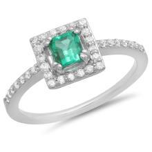 14K Gold 0.50ct Emerald & 0.25ct Diamond Ring