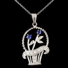 14K Gold 0.27ctw Sapphire & 0.40ctw Diamond Pendan