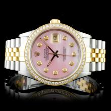 Rolex YG/SS DateJust 1.00ctw Diamond Wristwatch