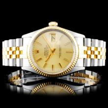 Rolex YG/SS DateJust 36mm Champagne Wristwatch