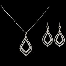 14K Gold 6.75ctw Diamond Pendant & Earrings
