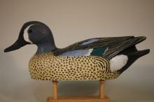 Jim Foote, Gibraltar, Mi. Blue Wing Teal Drake Duck Decoy, Solid Body, Mint Original Paint, Ca. 1968, Competition Decoy, Never Rigged
