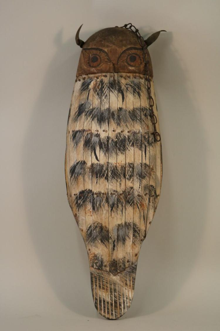 Outstanding Folk Art Owl Two Faced Hollow Body Made In Ba