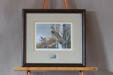 """Framed & Matted, Ruffed Grouse Society 1983 Conservation Stamp Print by Maynard Reece, Signed Print #1629 of 1780, 15.5"""" x 16.75"""""""