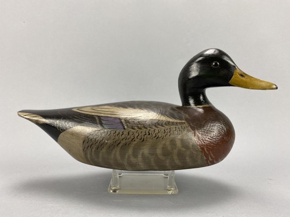 A. Elmer Crowell Mallard Drake Duck Decoy
