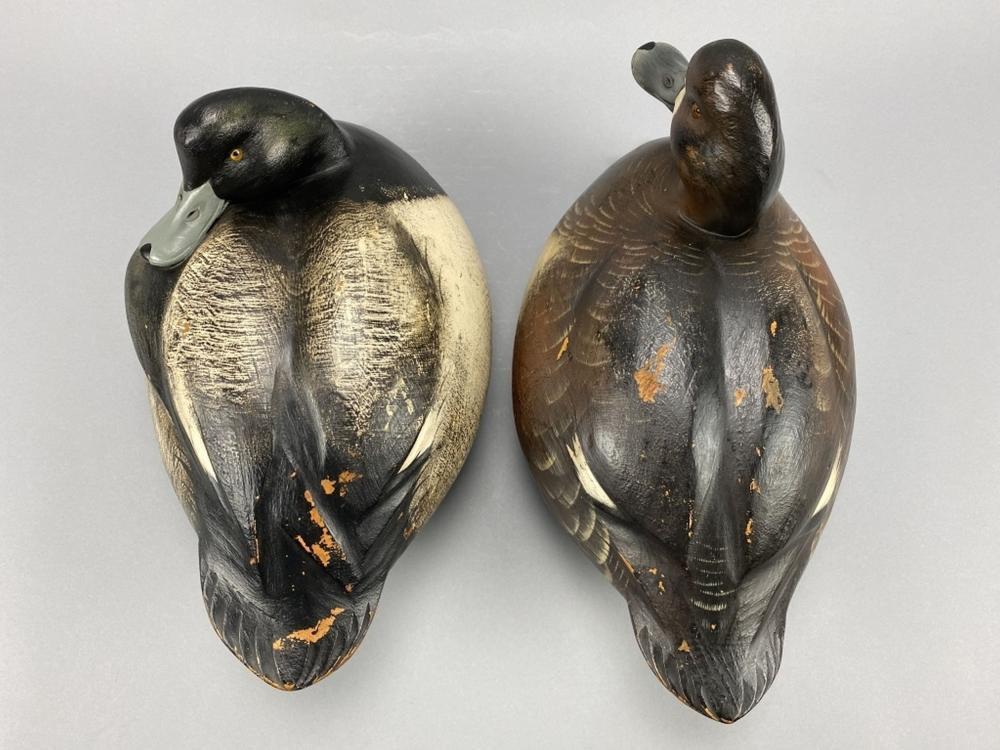 Jim Schmiedlin Pair of Bluebill Duck Decoys