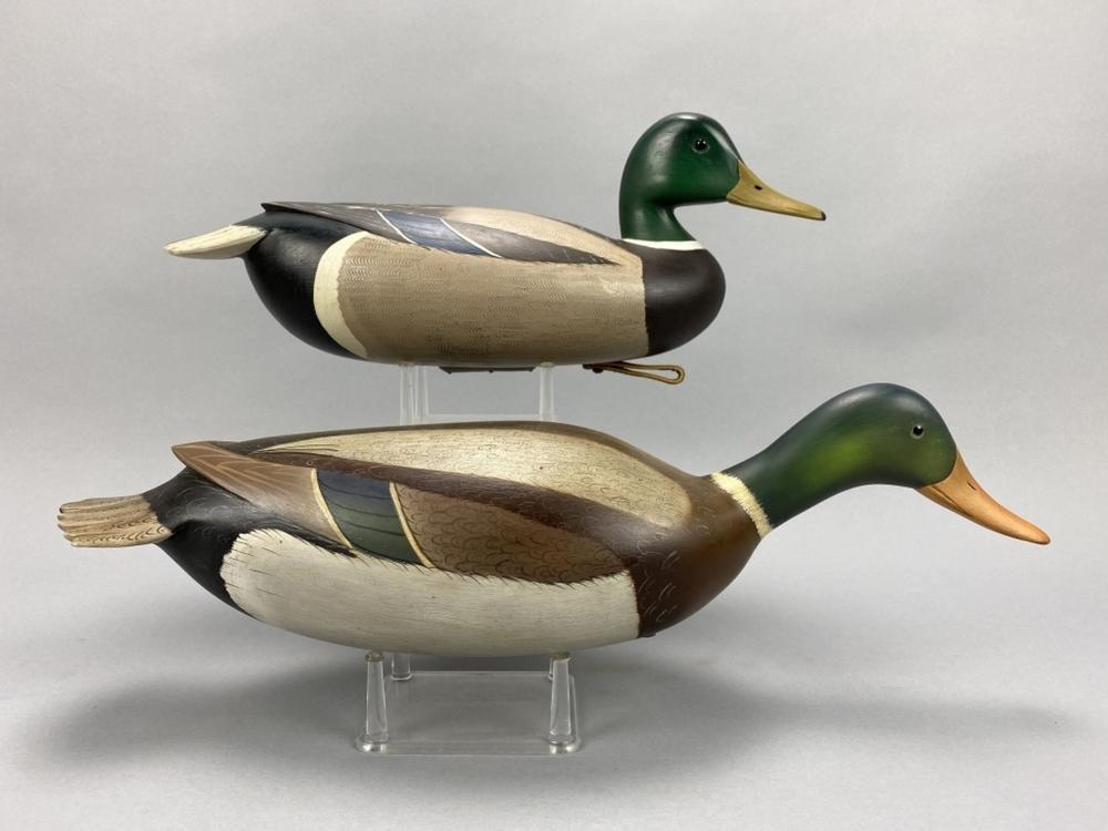 2 William Ethington Mallard Drake Duck Decoys