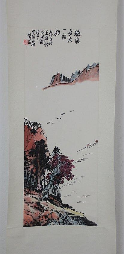 Chinese Pen & Ink Scoll Painting Mountain Landscape