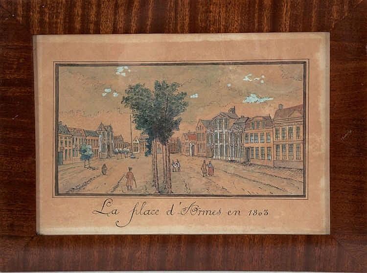 Gent la porte de courtrai en 1792 la place d 39 armes en for La porte court house