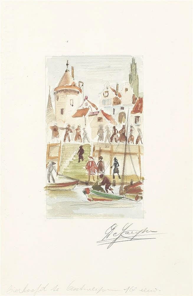 DE JAEGHER, Lucien – Illustraties voor 'De Bruggebranders' van K. Van den Oever