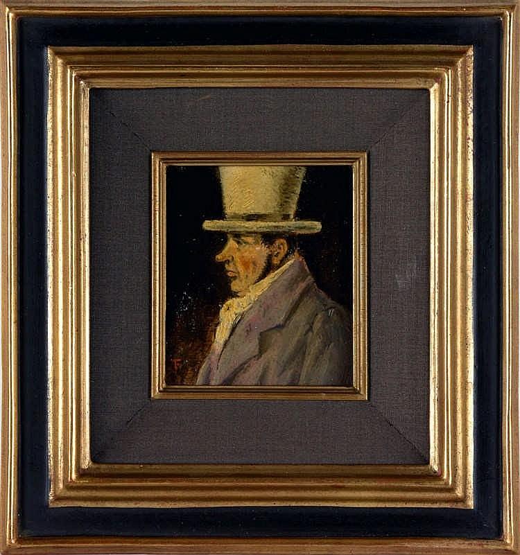 TIMMERMANS, Felix – Portret van een man met hoge hoed in profiel